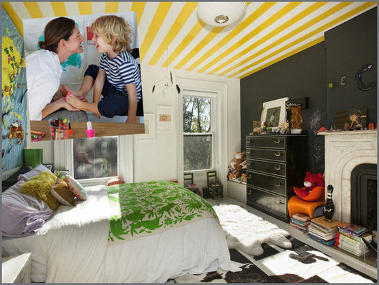 A Striped Ceiling in Jenna Lyons's Son's City Circus Bedroom