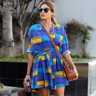 Eva Mendes Wearing Printed Dress