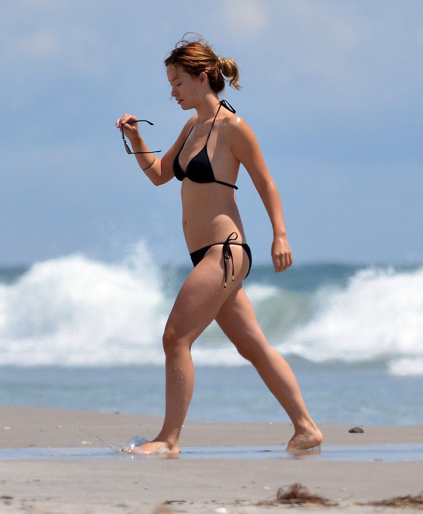 Olivia Wilde hit the beach in a black bikini.