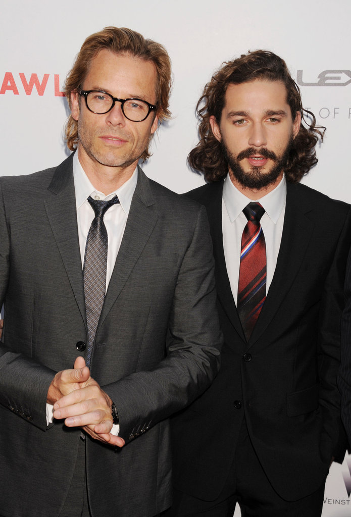 Guy Pearce and Shia LaBeouf looked dapper in grey and black suits.