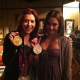 Alyson Hannigan posed with Olympic gymnast McKayla Maroney on the set of How I Met Your Mother. Source: Instagram user alydenisof