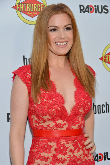 Isla FIsher wore a red lace number for the the Bachelorette premiere in LA.