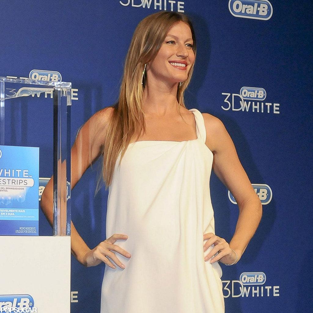 Pregnant Gisele Bundchen Wears White For a Bright Brazil Event