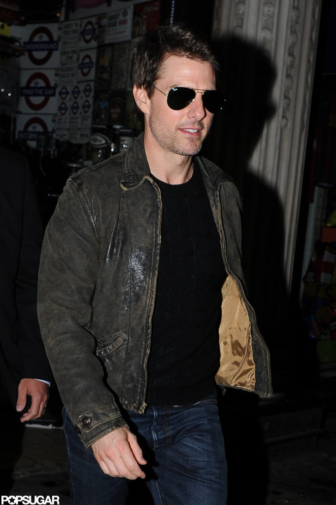 Tom Cruise wore sunglasses at night in London.