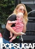 Hilary Duff held Luca Comrie while in Santa Monica.