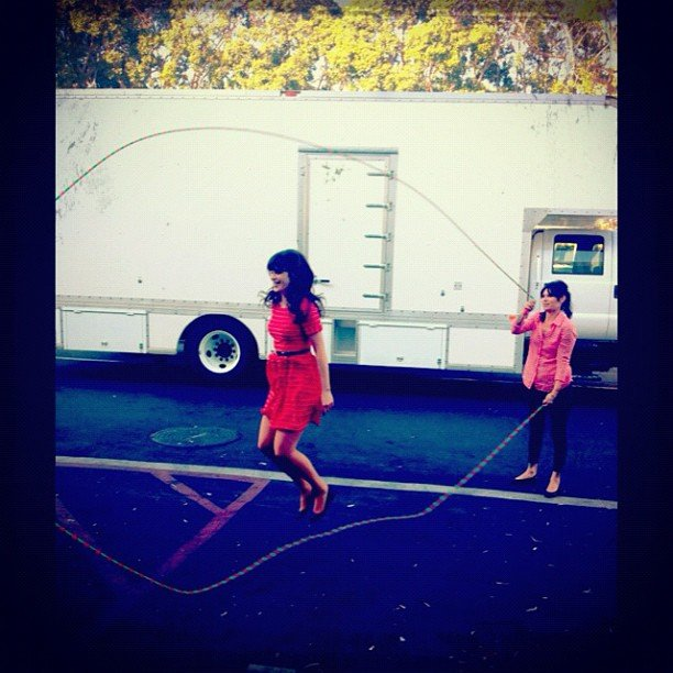 Zooey Deschanel played Double Dutch on the set of New Girl. Source: Instagram user zooeydeschanel