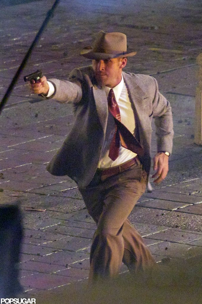 Ryan Gosling was spotted on the set of Gangster Squad for reshoots in August.