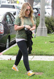 Hilary Duff headed to a boxing class in Hollywood.