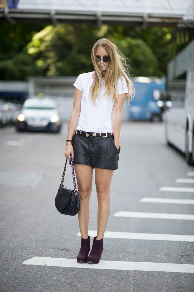 Leather shorts are a guarantee to nailing street-chic Fall style with some edge. Source: Adam Katz Sinding