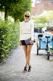 There's nothing we don't love about this ladylike peplum look — right down to her heels and her clutch. We're already thinking about concocting a similar style. Source: Adam Katz Sinding