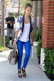 Jessica Alba showed off a slick way to style bold print and color in her Stylestalker floral blazer and royal-blue tuxedo-striped Current/Elliott pants.