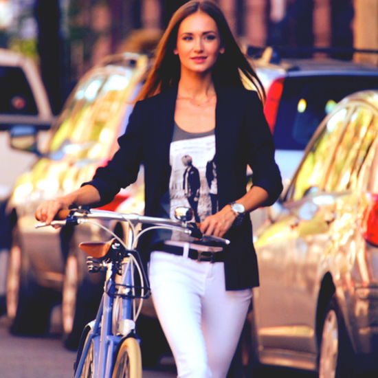 Ten Ways to Wear a Pair of White Skinny Jeans: Cue Styling Inspiration. BYO Bicycle!