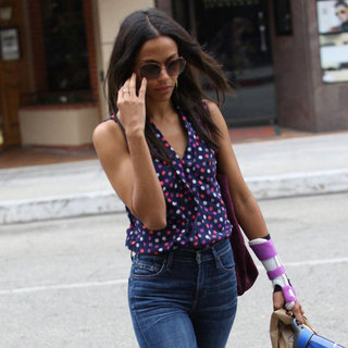 Zoe Saldana Wearing Polka Dot Top