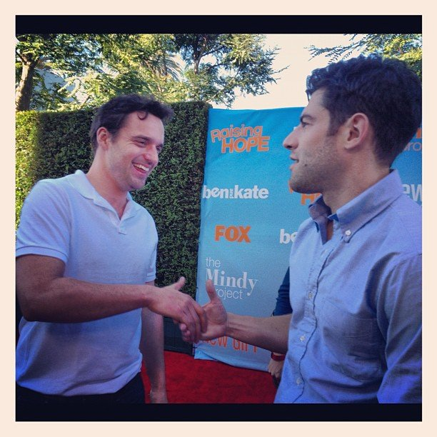 Jake Johnson and Max Greenfield met up to promote season two of New Girl. Source: Instagram user foxbroadcasting