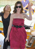 Anne Hathaway waved to the Venice crowds while there in 2008.