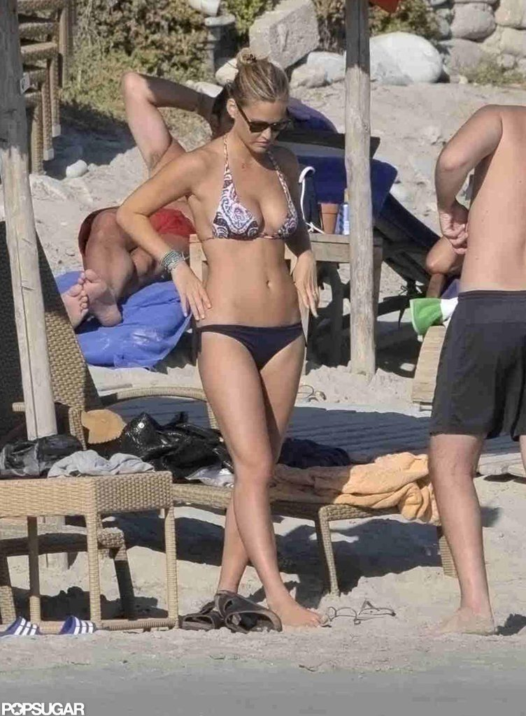 Bar Refaeli had her feet in the sand while on vacation in Mykonos, Greece, in August.