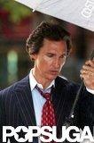 Matthew McConaughey carried an umbrella.