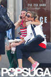 Cameron Diaz cozied up to a friend outside the gym.