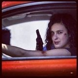 Rumer Willis looked tough on set. Source: Instagram user ruelarue