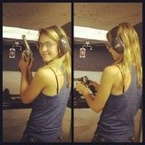 Jessica Alba hit the gun range in preparation for a new role. Source: Instagram user jessicaalba