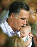 Mitt Romney kissed a very tiny baby after an economic speech in Irwin, PA, in July.