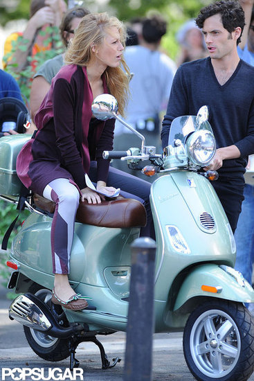 Blake Lively and Penn Badgley chatted before taking the Vespa for a ride.