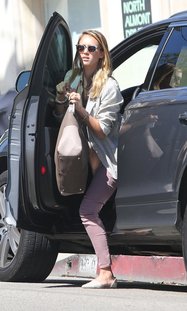 Jessica Alba stepped out of her car in Beverly Hills to do some shopping.