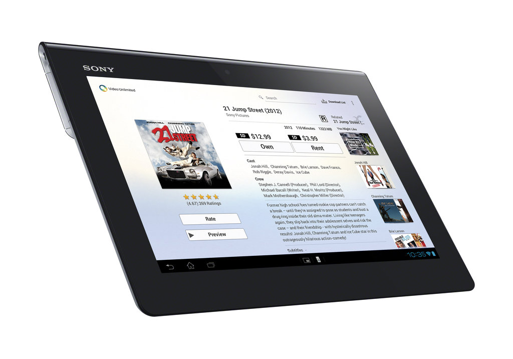 A side view of the Xperia Tablet S and of Sony's Video Unlimited movie service.