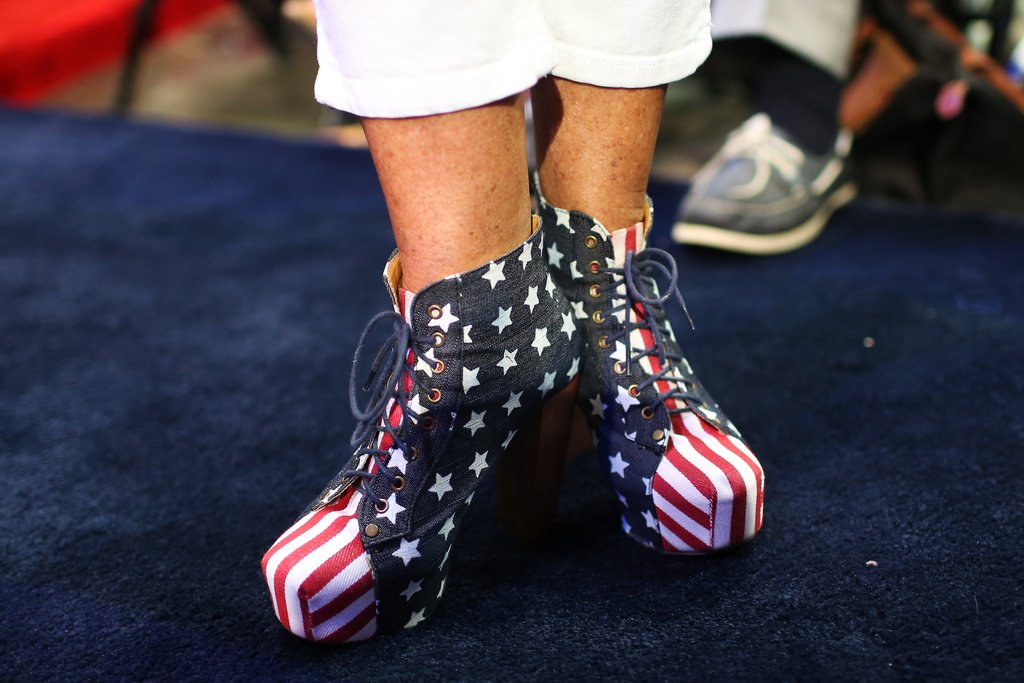 A lady donned patriotic shoes inside the convention.