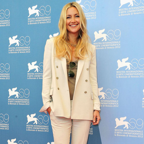 Kate Hudson Wearing Tan Suit
