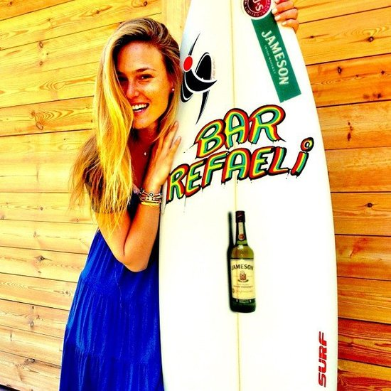 Bar Refaeli turned 27 on June 4 and was gifted a personalized surf board. Source: Instagram user barrefaeli