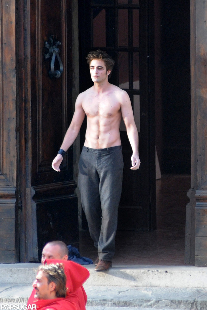 Robert Pattinson went sans shirt while filming in Italy in May 2009.