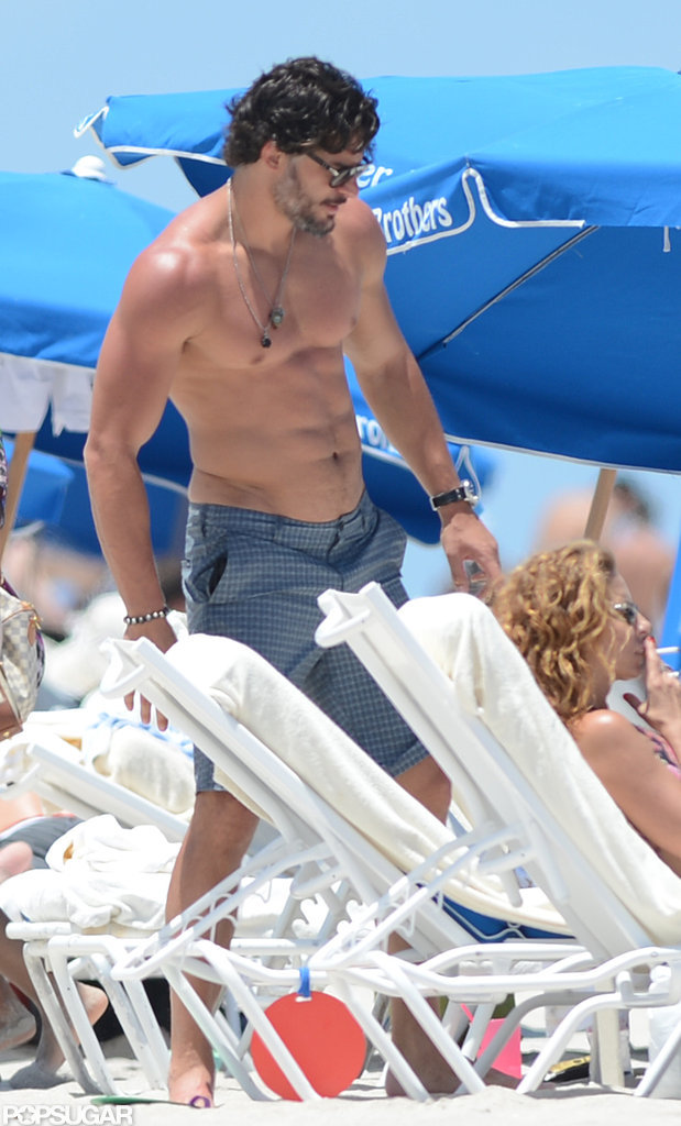 Joe Manganiello showed off his toned body while hitting the beach in Miami in June.