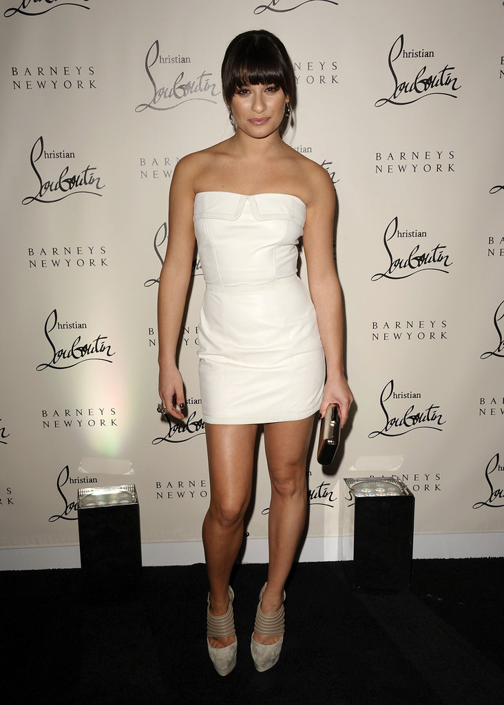 Lea looked crisp and clean in a white Versus strapless mini in 2011.