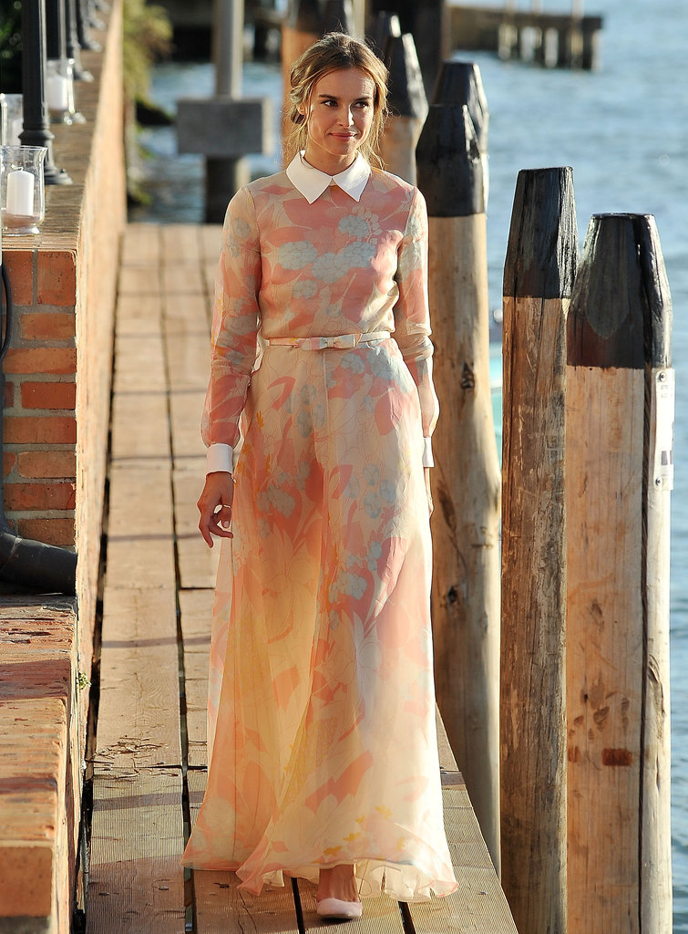 The festival's opening and closing ceremony host Kasia Smutniak donned this pastel-hued Valentino number. We can't decide what we love more: the romantic chiffon silhouette, the crisp addition of a white collar and blouse cuffs, or the sweet matching bow-tie belt. It's a winning look.