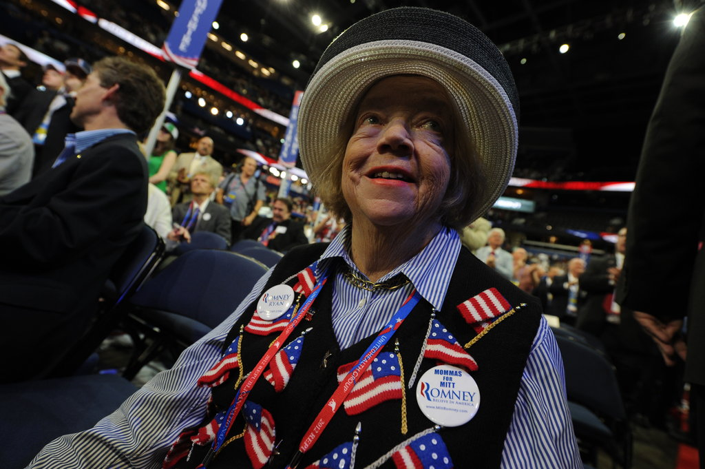 A female attendee wore a patriotic vest.