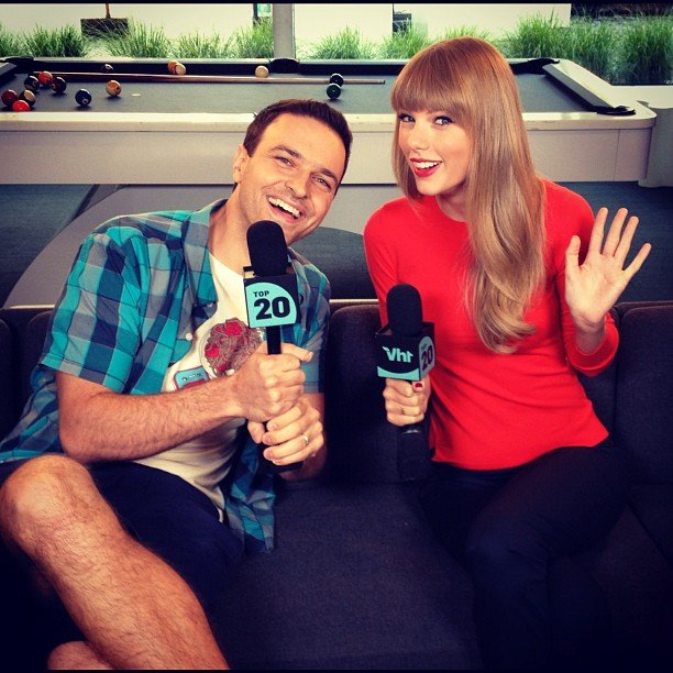 "Taylor Swift stopped by VH1 to debut her new video for ""We Are Never Ever Getting Back Together."" Source: Instagram user vh1"