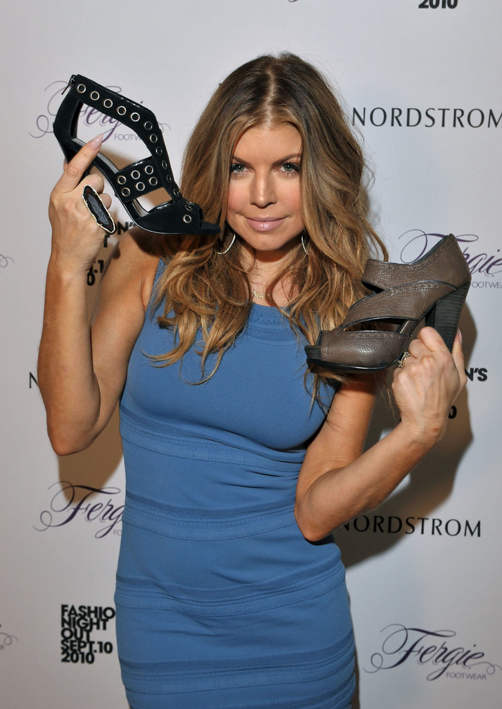 Fergie showed off pieces from her footwear collection during a party at Nordstrom in 2010.