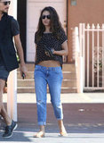 Mila Kunis Hits LA in a Crop Top as Her Man Ashton Heads to India