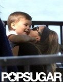 Gisele Bundchen kissed baby Ben on the cheek.