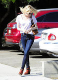 Emma Stone showed off her hair leaving the salon in LA.