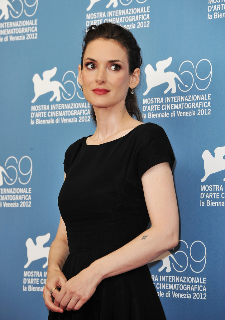 Winona Ryder wore red lips to the Venice Film Festival.