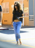 Mila Kunis showed off her stomach on the way to get her nails done in LA.
