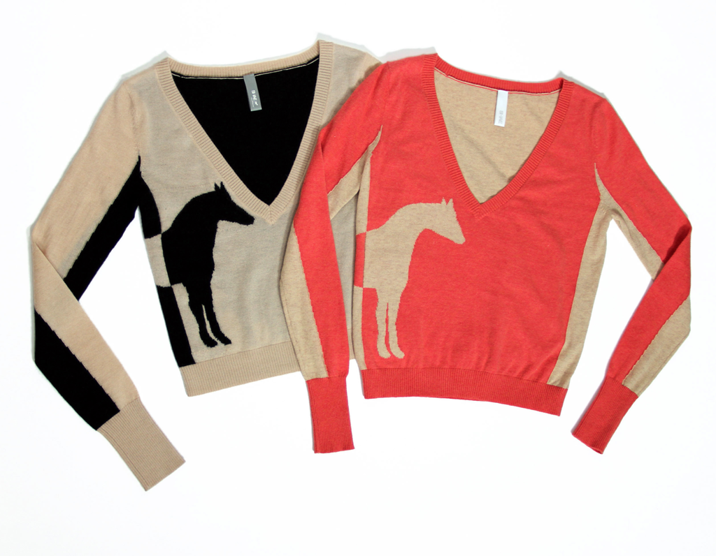 We'd pair this v-neck sweater under a sharp blazer and a fit and flare wool skirt.  Shae NY V-Neck Intarsia Sweater ($300)