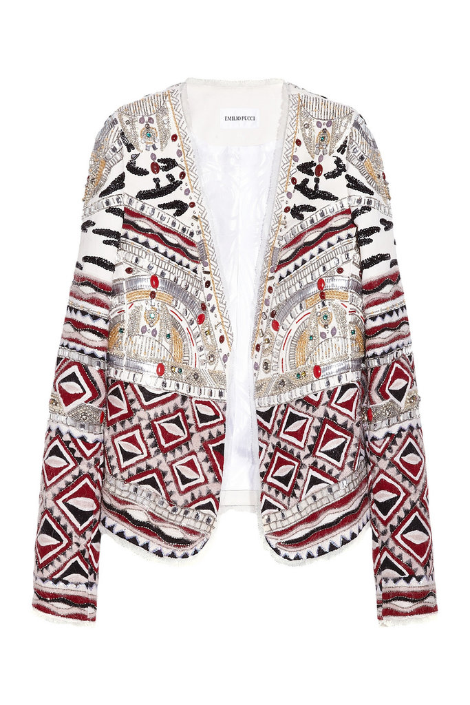 Even though this awesome embroidered jacket is a serious splurge, the classic cut and color combo will span lots of seasons. Emilio Pucci Embellished Jacket ($5,900)
