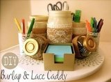 Burlap &amp; Lace Desktop Caddy