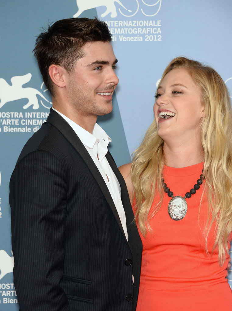Zac Efron had a laugh with Maika Monroe at the At Any Price photocall at the Venice Film Festival.