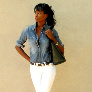 Denim Shirt and White Jeans Street Style