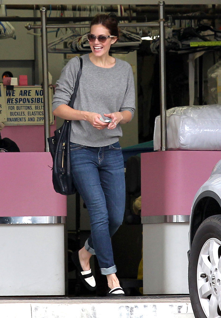 Mandy Moore balanced easy staples and cool, preppy pieces, like her killer two-tone loafers, while out in LA.