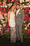 Jennifer Hawkins and Kris Smith celebrated the 50th anniversary of Fashions on the Field with Myer on August 28. Photo courtesy of Lucas Dawson